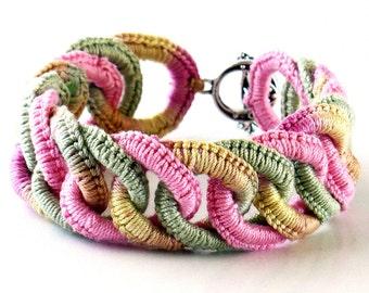 Irish Crochet Bracelet Fiber Bracelet  Faux Chainmail Bracelet Pink Sage Ecru Pale Yellow