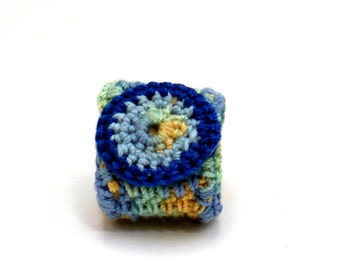 Crochet Ring Fiber Ring  Blue Yellow Green Circle Motif