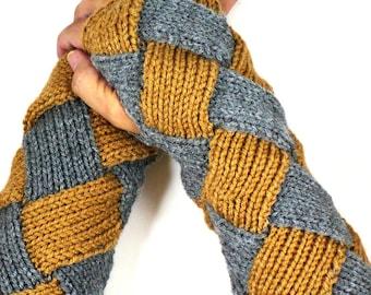 Knit Wrist Warmers Warm Grey Gloves Brown Fashion Accessories Grey Winter Gloves Entrelac Gloves Long Gloves Fashion Gloves Wristwarmers