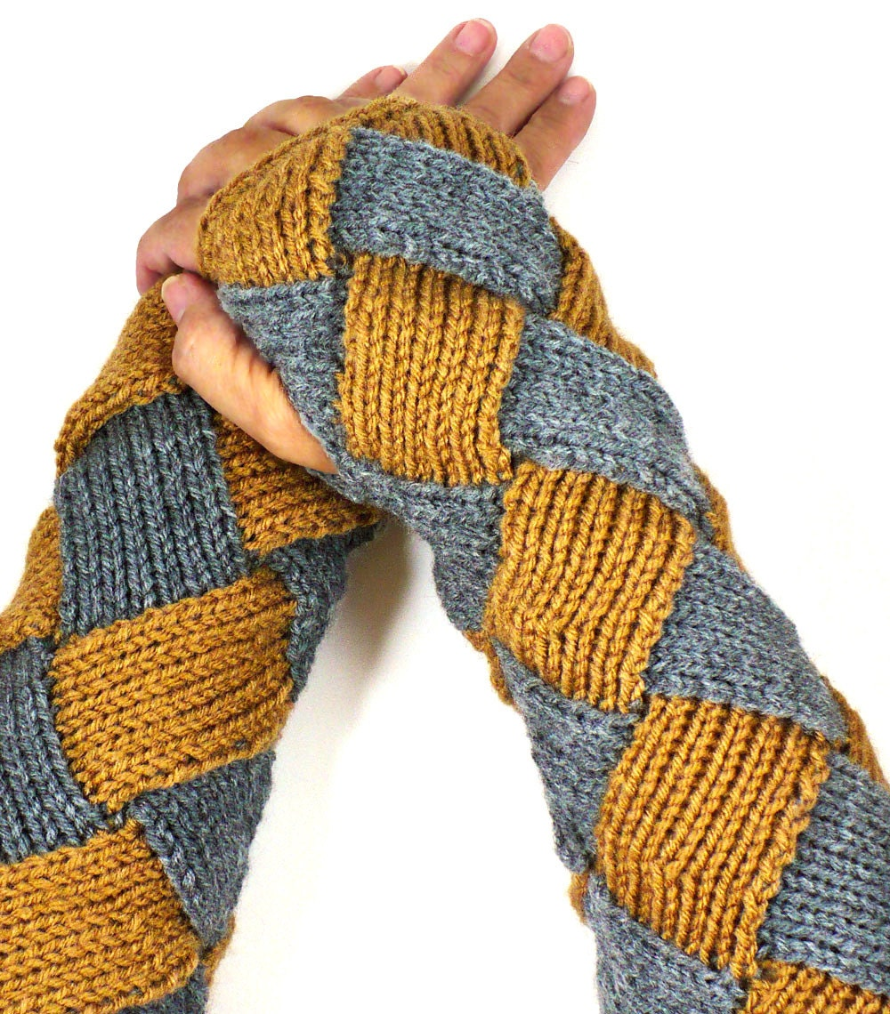 Long Arm Warmers Knitting Pattern : Knit Wrist Warmers Warm Grey Gloves Brown Fashion Accessories