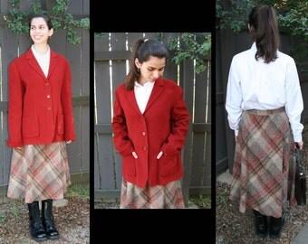 CLEARANCE: Vintage Long Wool Skirt, Tweed & Plaid, A-Line, ILGWU American Union-Made Apparel // Mocha, Tan, Mustard, Pumpkin, Olive