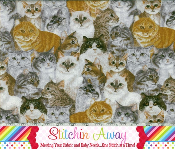 CATS ALLOVER Fabric New 100% Cotton Quilting Sewing Cat KITTY Kitten