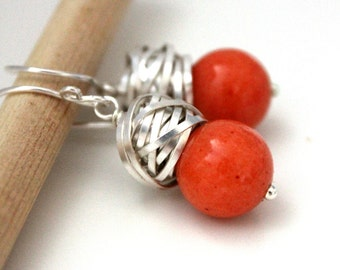 The Goya in Tangerine - charming earrings with deep orange jade and silver wire