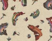 Alexander Henry Tan Fresh Catch Fishing Print 100% Cotton Quilting Fabric