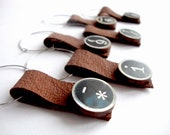 Wine Glass Charms made from recycled leather and wooden typewriter letters