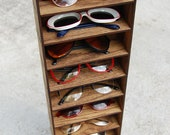 Sunglass Organizer Holder Display Case Wall Mounted Shelf Storage 3D Glasses Shelving Oak Wood Skinny 10ct