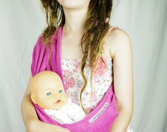 Pink Child's Pouch Sling for Dolls or Teddies suitable - 1-8 years