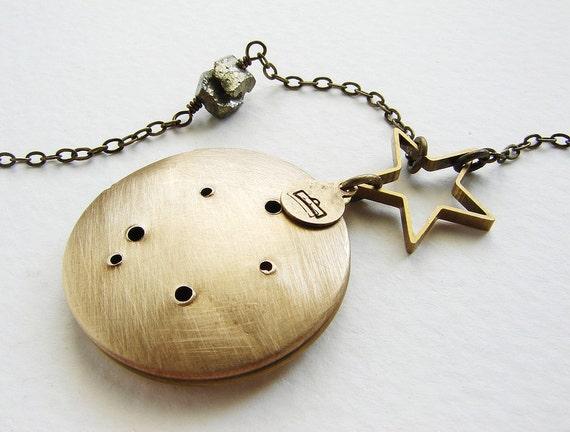 Libra constellation Necklace - Libra locket September October birthday zodiac constellation necklace