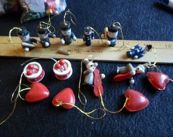 Vintage Miniature handpainted wood ornaments - 14