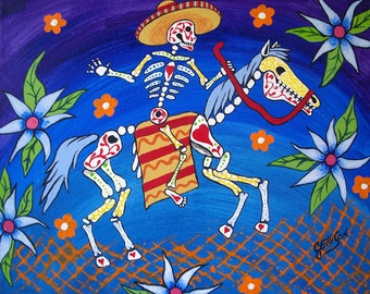 """Day Of The Dead """"Horse and Rider"""" 8x10"""" Art Print Poster Mexican Folk Multiple Sizes Available Artist J Ellison"""