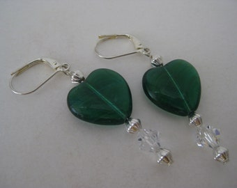 Heart Green Earrings Silver Pierced Wire Dangle Vintage