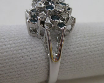 Blue Clear Rhinestone Ring Silver Cocktail Vintage Size 6