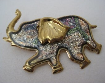 Elephant Brooch Gold Vintage Pin