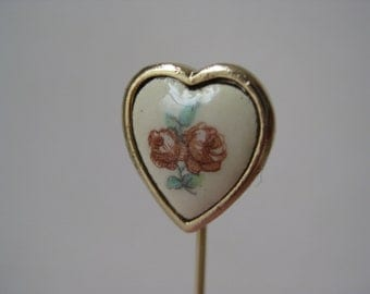 Heart Rose Flower Stick Pin Gold Off White Vintage