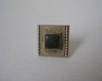 Shabby Green Gold Tie Tack Vintage Pin