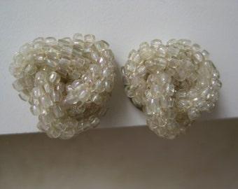 Bead Knot Earrings Screw Vintage Glass Silver