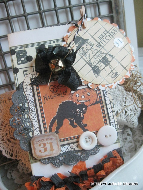 vintage style halloween black cat candy bag treat bag with matching large tag gift decoration