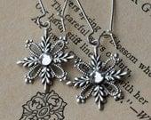 Snowflake Earrings . Antiqued Silver Filigree Snowflake Jewel Earrings. Crystal Clear Jewels . Winter . Snow Flurries