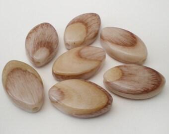 FINAL SALE - 24x14mm Unique Wood effect oval acrylic beads 8pcs