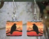 Bird 46 Crow Raven Art Glass Earrings from painting by L.Dumas