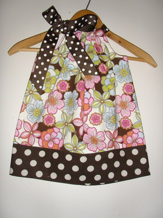 Sale 12.75 Pink brown  Flowers Large brown polka dots pillowcase dress small 24 months 3t