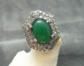 Vintage Sterling Ring Deco Marcasite Green Jewelry R4958