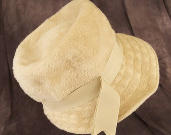 Vintage Beige Cloche with Embroidered Asymetrical Trim Woodward and Lothrop