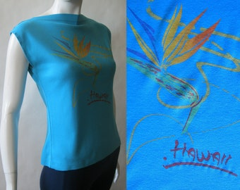 Hawaii Bird of Paradise late 1970's / early 1980's flower and squiggle tee in turquoise, with boat neck, medium / large