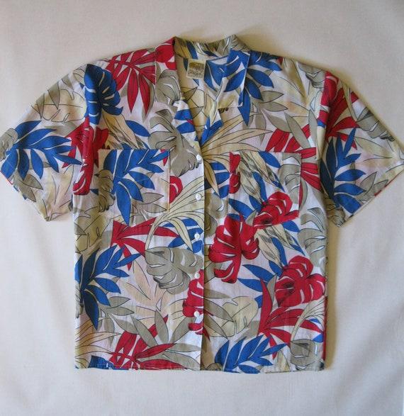 Bold Hawaiian print shirt, by City Girl, 1980's, unisex medium / large