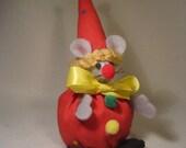 Felt Mouse Dressed as a Clown