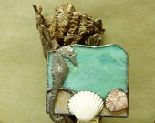 Under the Sea Stained Glass Night Light with Seahorse and Shells