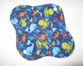 Cloth pantyliner 8 inch with ocean creatures
