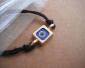 Blue Square Evil Eye with Cuff Bracelet