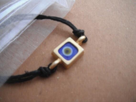 Blue Square Evil Eye with Cuff Bracelet