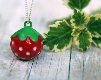 Strawberry Pendant  Jingle Bell Necklace  Summer Berries  Girls, Kids, Children  Gift Box