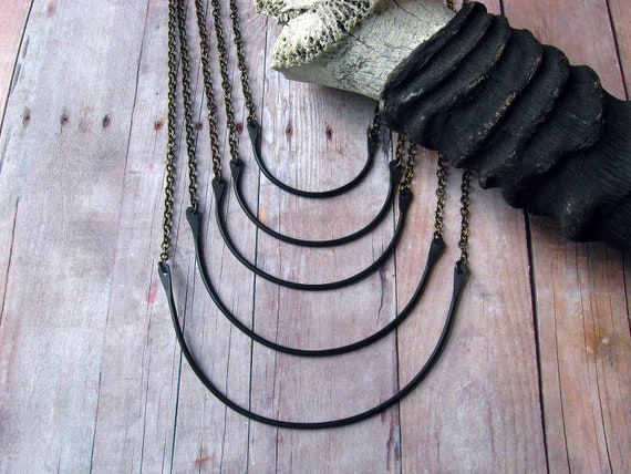 Black Tribal Necklace - Breastplate - Multi-Strand, Upcycled, African, Oxidized Brass Crescent Pendant - OOAK - Statement Piece - Gift Box
