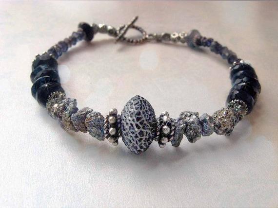 Pyrite and Blue Labradorite Bracelet - Shimmer, Gemstone Sparkle - Black Spider Web Agate, Midnight Blue, Metallic Gold, Silver Gift Box