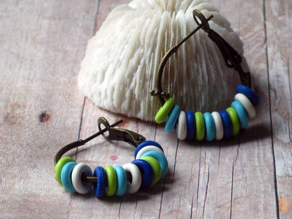 Summer Hoops - Nautical Colors Earrings - Royal Blue, Turquoise Blue, White, Lime Green - Rubber O Rings