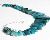Teal Blue Agate Collar Necklace under 100 - Stalactites and Stalagmites