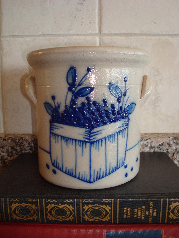 Super Sale Salt Glazed Pottery Crock With Cobalt Blueberry