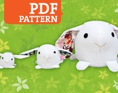 Bunny PDF Pattern - Stuffed Animal, Softie, Plush - 3 Sizes Included