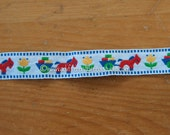 Donkeys Pulling Wagons - New Old Stock Vintage Embroidered Fabric Trim Animals Tulips