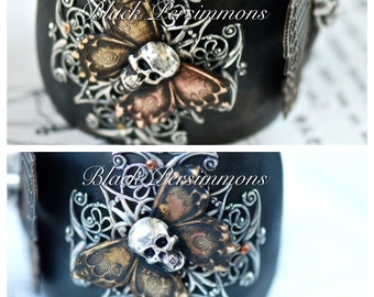 OOAK - Yriyega No. 4 Cuff - Skull Skeleton Butterfly Filigrees - Made in USA Brass Components - SOLDERED Patinaed Riveted