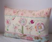 Cushion slip MADE TO ORDER two birds with flowers 16'x12'