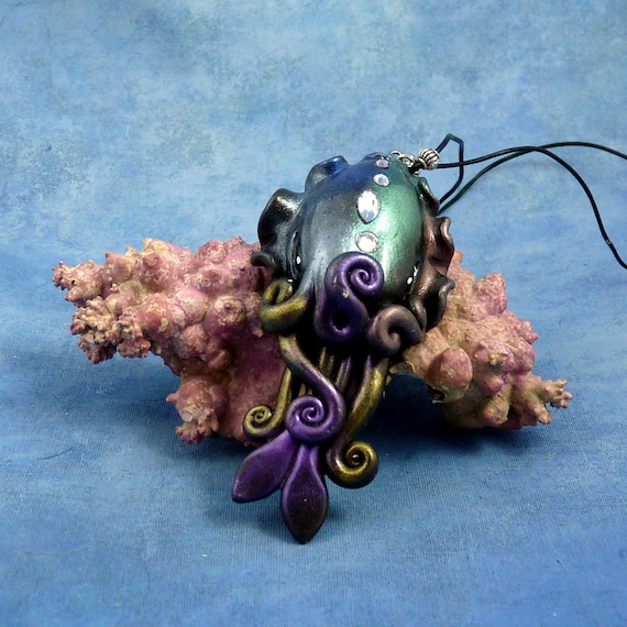 Cosmic Cuttlefish Necklace - Polymer Clay Jewelry Pendant