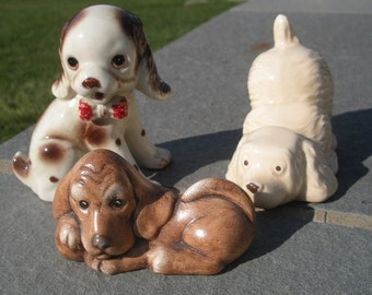 Instant vintage Dog Puppy Collection Cuties in Brown Ceramic and Ironstone