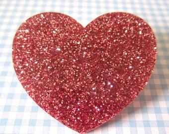 Pink Glitter Love Heart Brooch