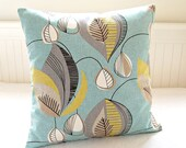 blue retro decorative pillow cover grey yellow lime cushion cover 16 inch