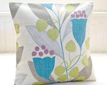decorative pillow cover blue flowers, pale lime, grey leaves, retro style cushion cover 16 inch