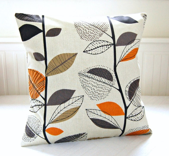 decorative pillow cover leaves burnt orange grey black. Black Bedroom Furniture Sets. Home Design Ideas